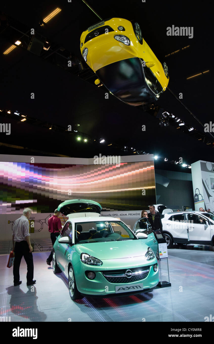 New Adam compact car by Opel on display at Paris Motor show 2012 - Stock Image