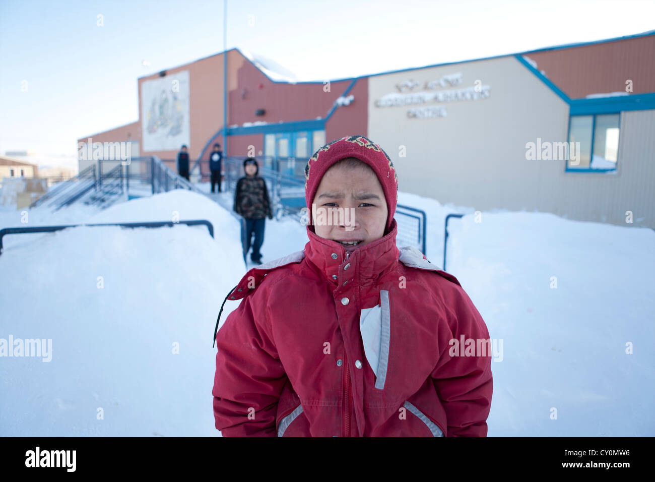 Inuit boy on the North Pole - Stock Image