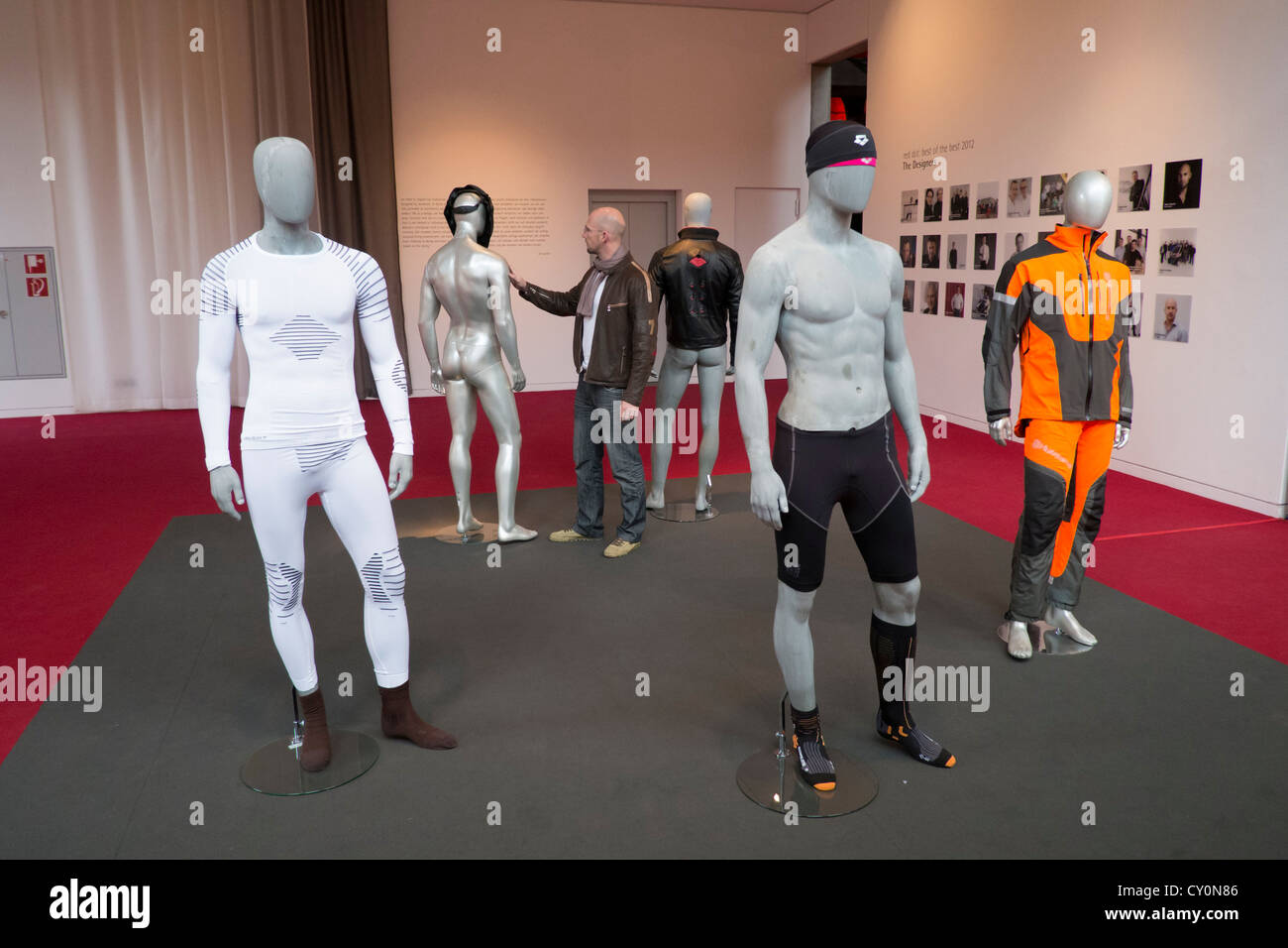 Modern high technology clothing on display at Red Dot design Museum in Essen Germany - Stock Image