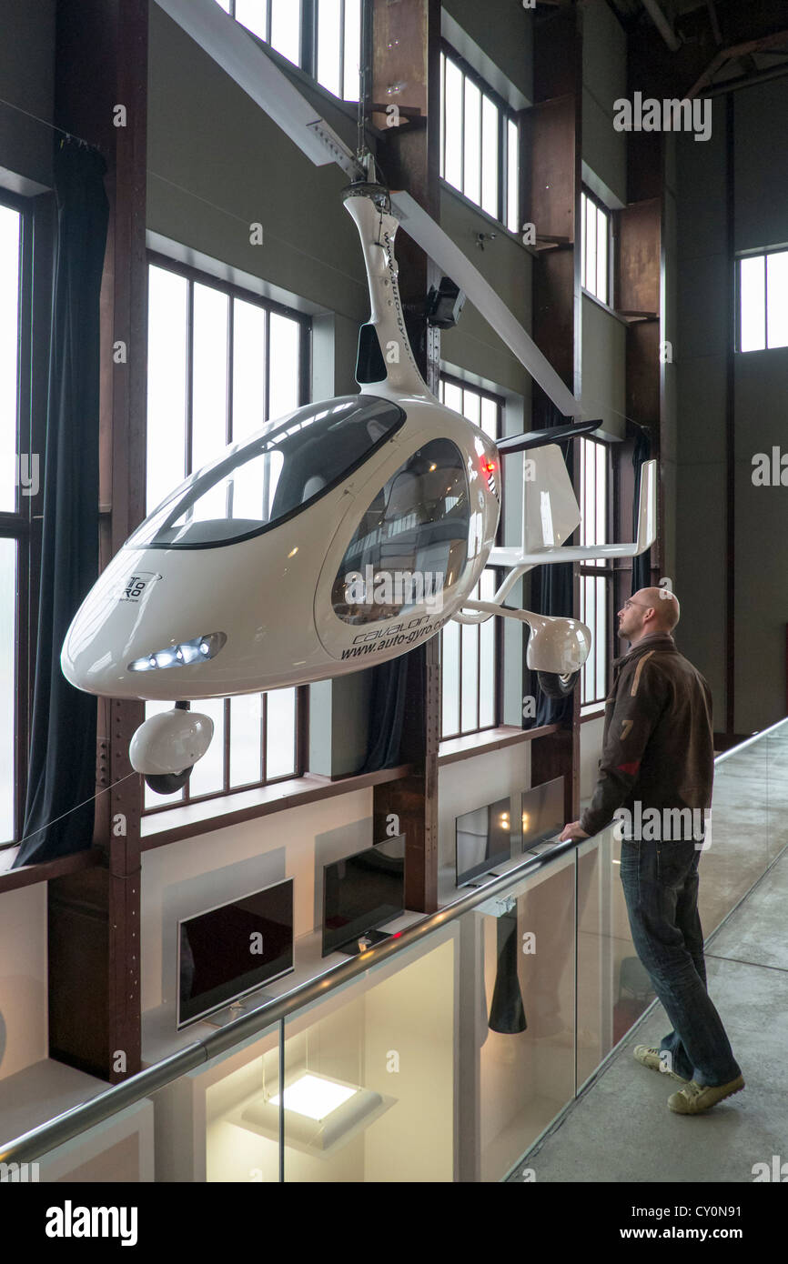 Gyrocopter or Aerogyro on display at Red dot Design Museum in Essen Germany - Stock Image