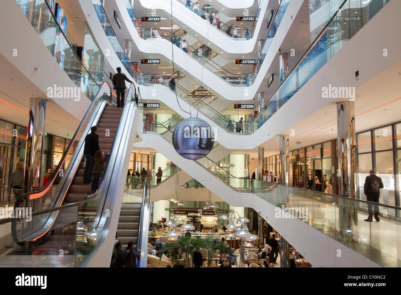 Modern Sevens shopping mall on upmarket Konigsallee in Dusseldorf Germany - Stock Image