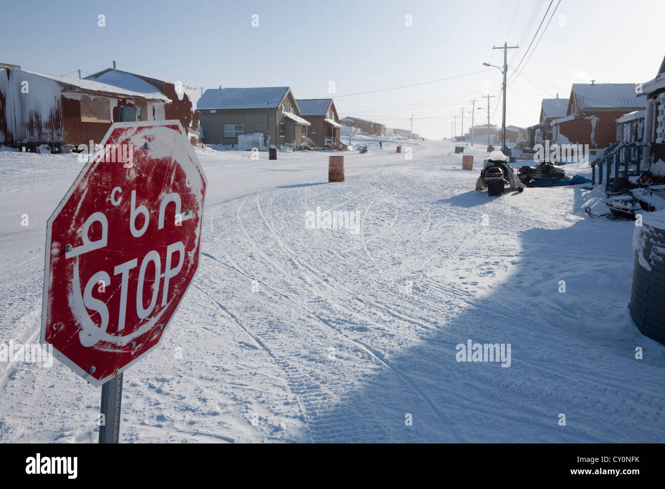 frozen streets on the north pole - Stock Image