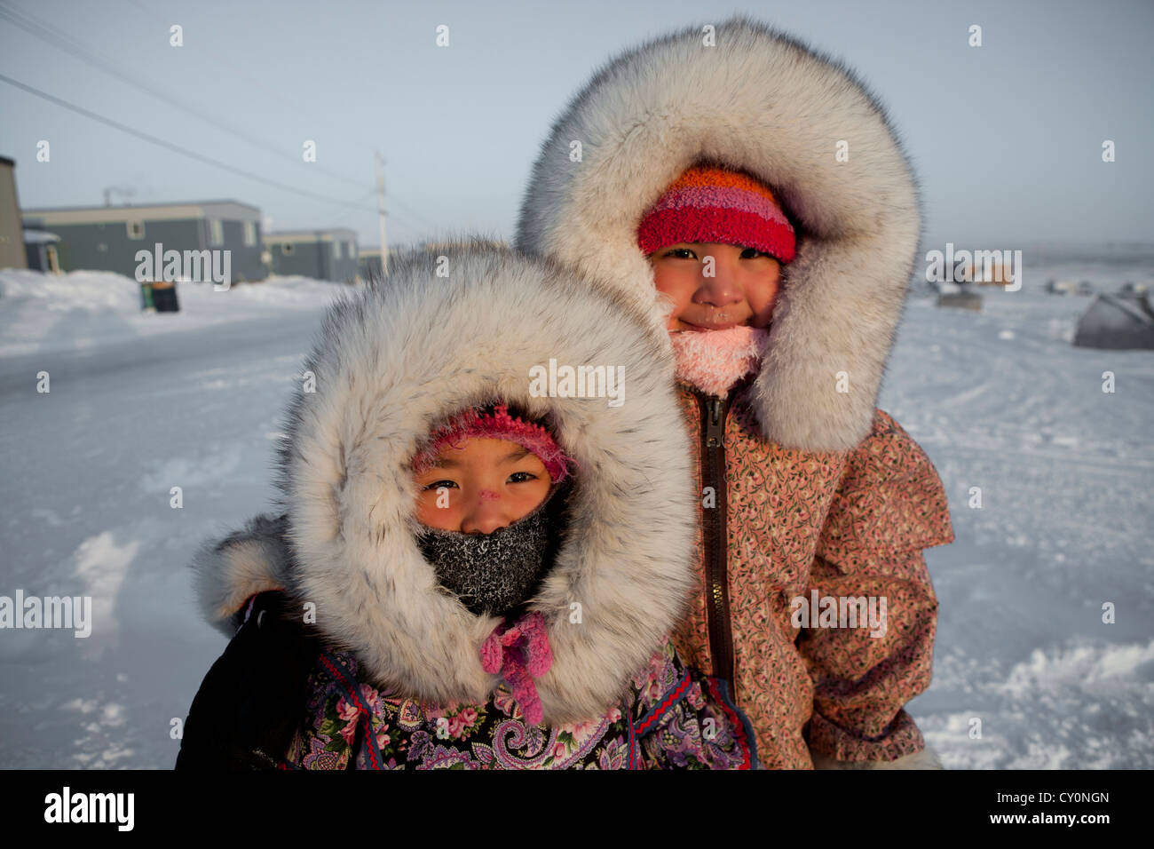Inuit girls at the northpole - Stock Image