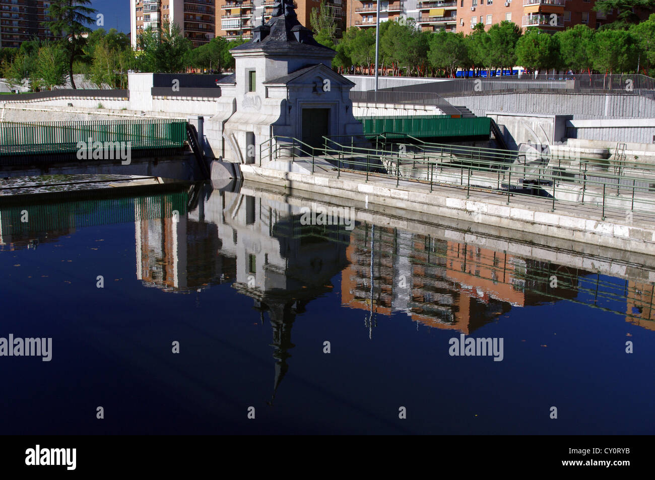 Restored old dam on river Manzanares, part of 'Madrid Rio' project Stock Photo