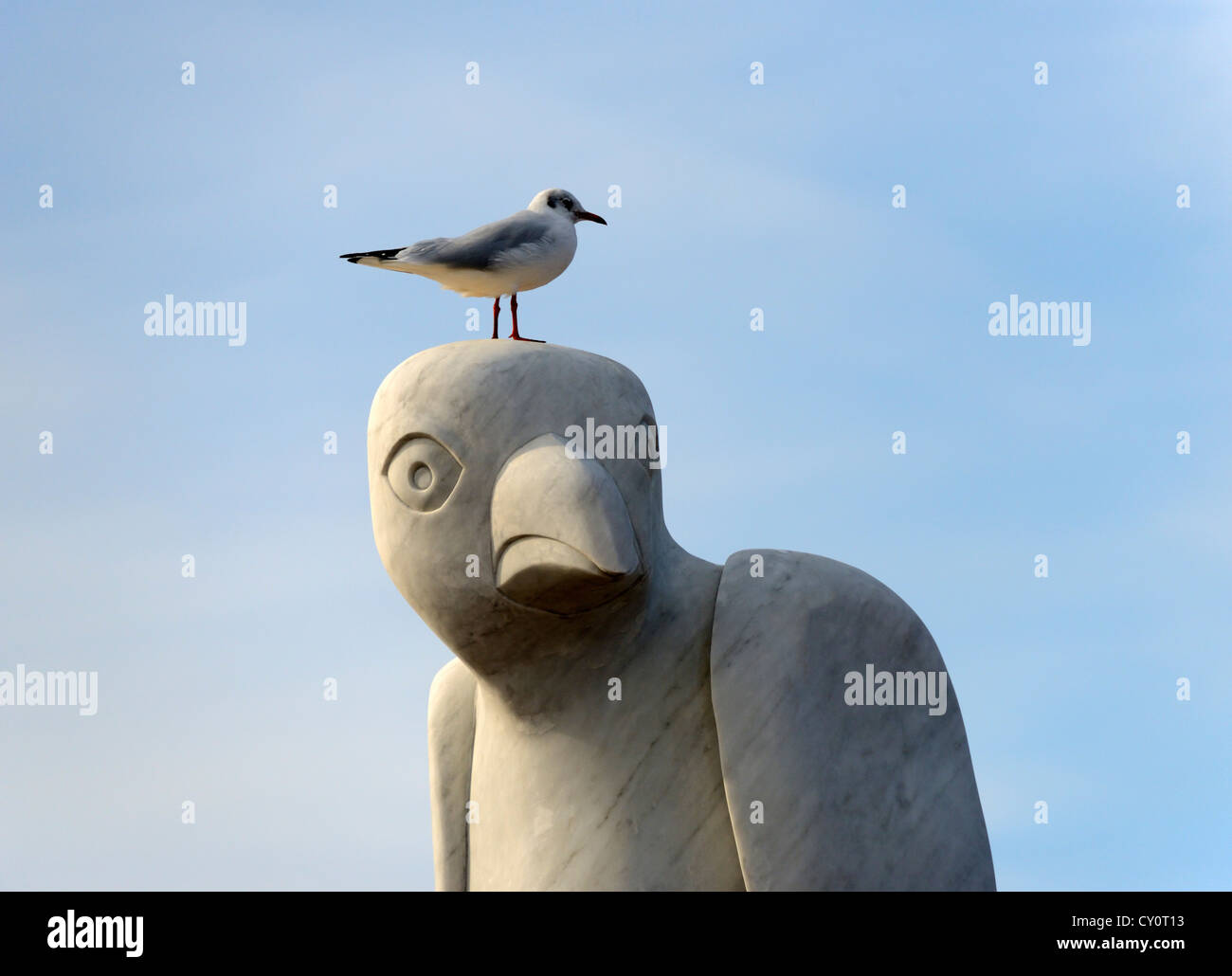Seagull perching on 'Mythical South American Bird' sculpture. The Tern Project, The Stone Jetty, Morecambe, - Stock Image