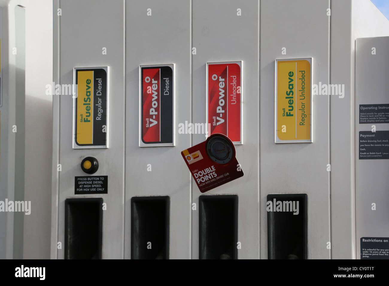 Petrol Pumps Regular Diesel, Diesel, Unleaded And Regular Unleaded Petrol At Shell Petrol Station Ewell England - Stock Image