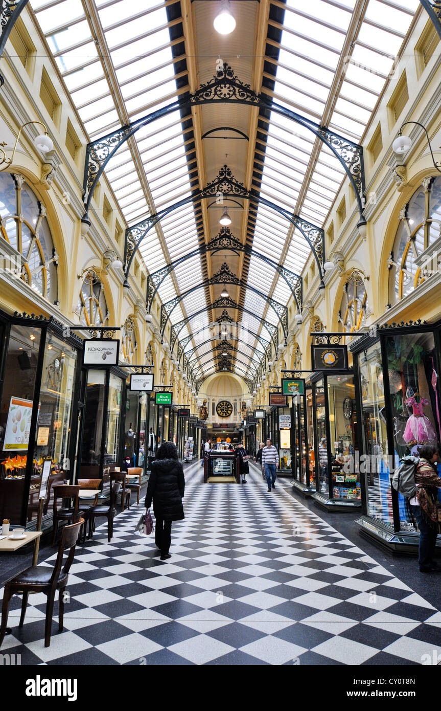 Shoppers in historic Royal Arcade in Melbourne, Australia. Unidentified people. Public place. Editorial use. - Stock Image