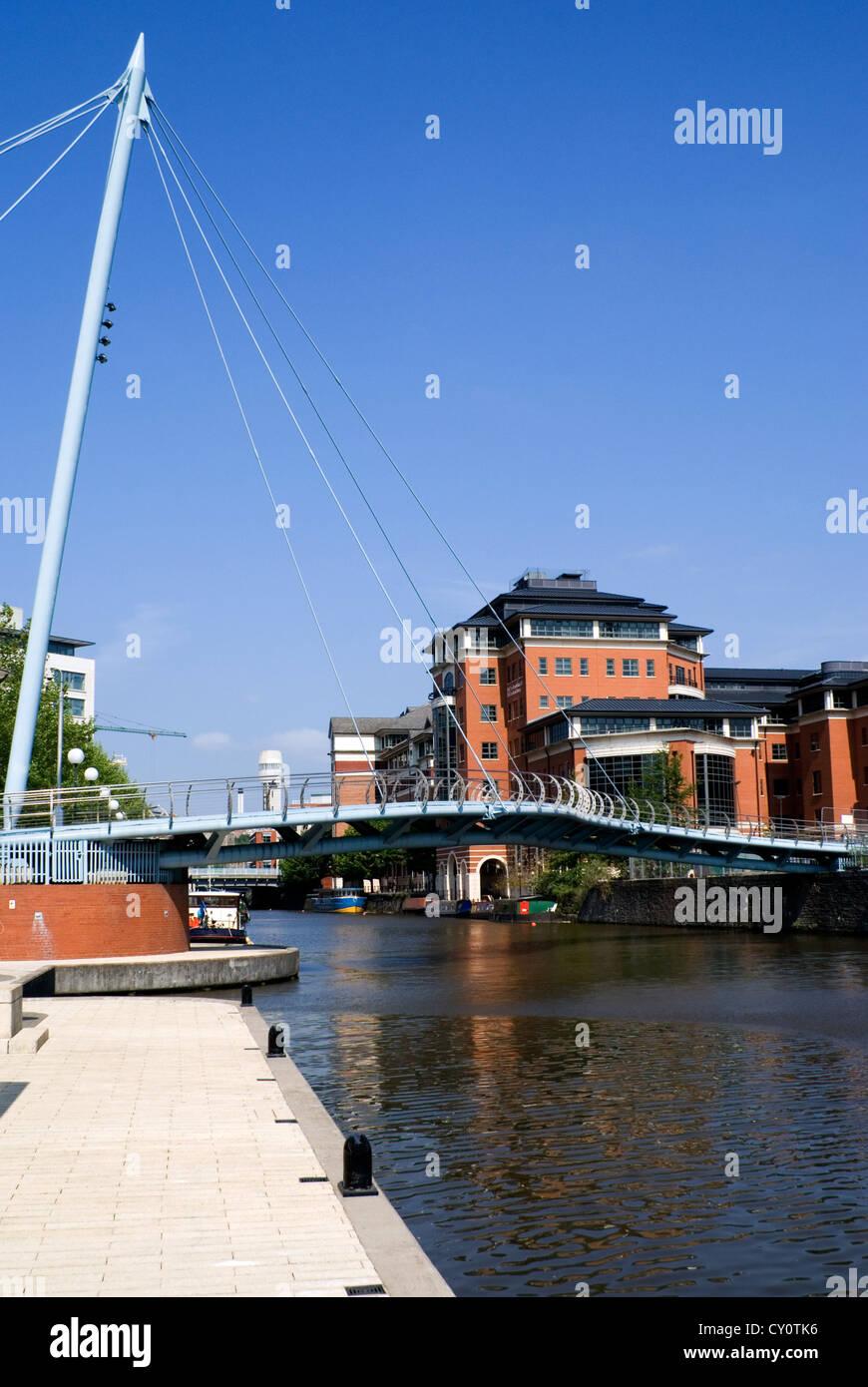 barges bridge and modern buildings temple quay bristol city centre england - Stock Image