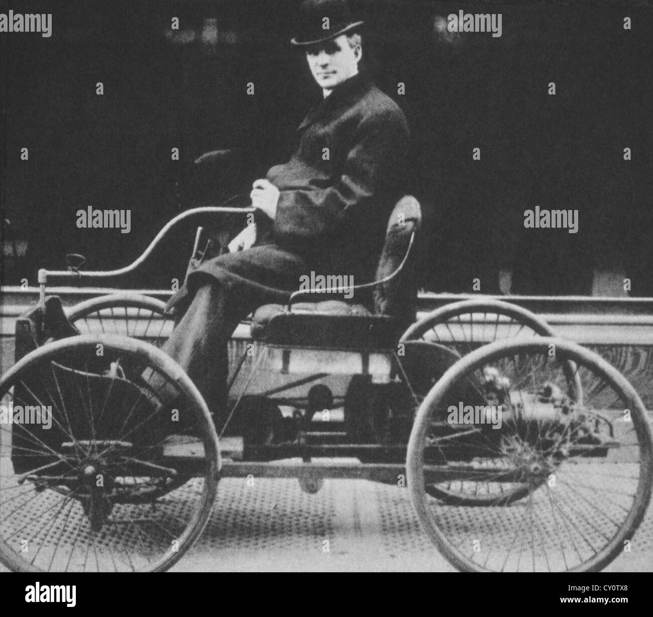 Henry Ford in his First Passenger Automobile, Quadricycle, First ...