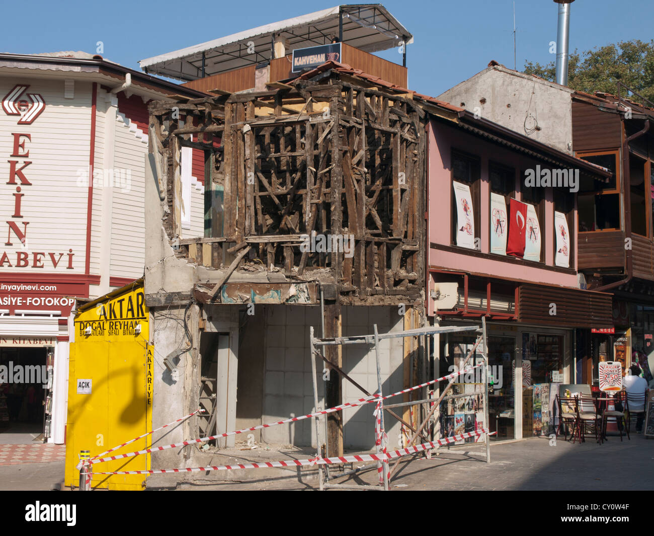 Ruin of a traditional wood frame house in the center of Bursa Turkey - Stock Image