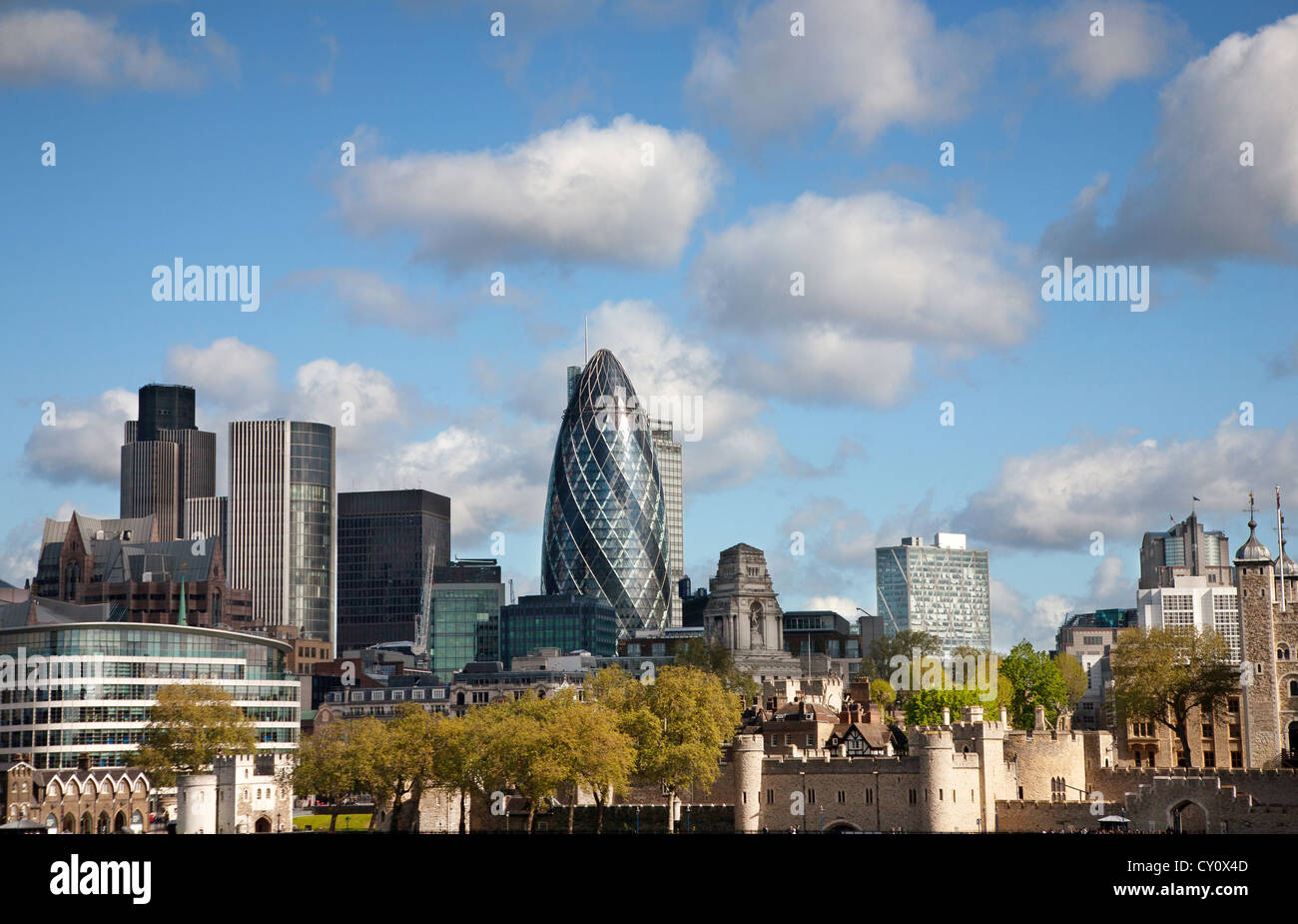 England. London. City skyline with the Gherkin building. - Stock Image