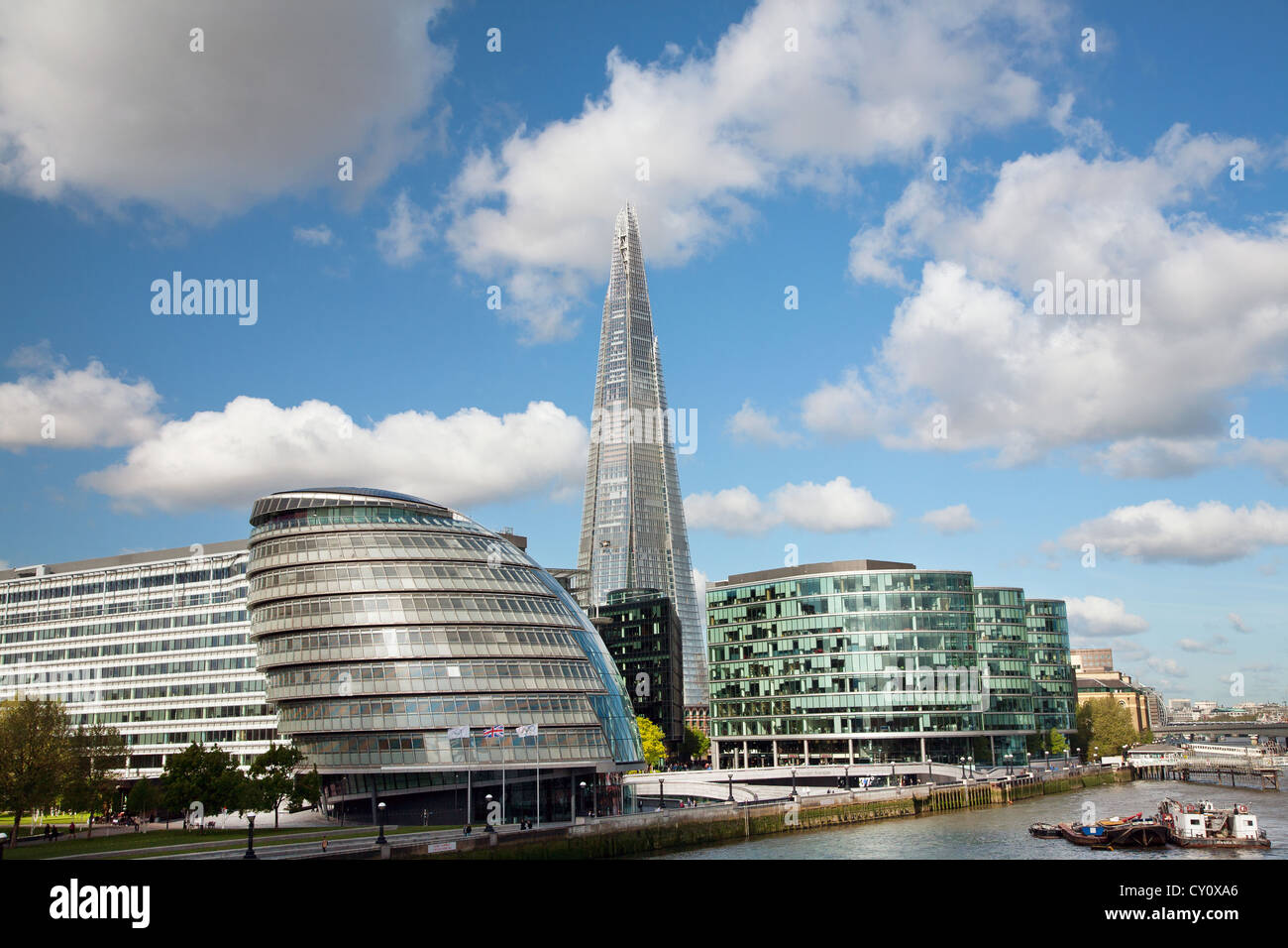 England. London. City Hall with the Shard building by the River Thames. Stock Photo