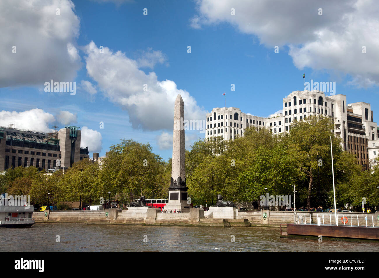 England. London. River Thames Embankment. Westminster. Cleopatra's Needle. - Stock Image