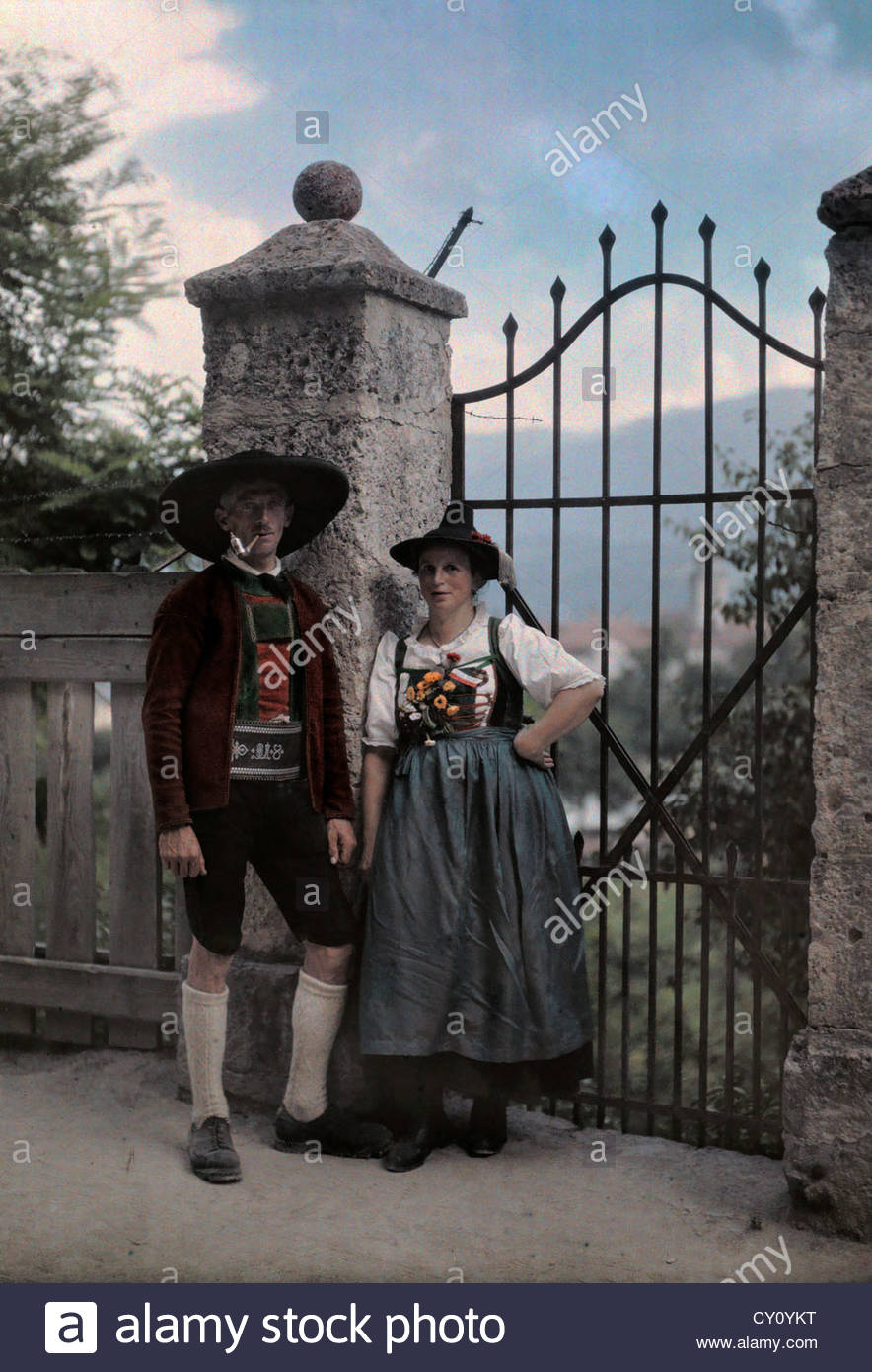 Tyrolese take pride in their national dress wearing it into adulthood. Stock Photo