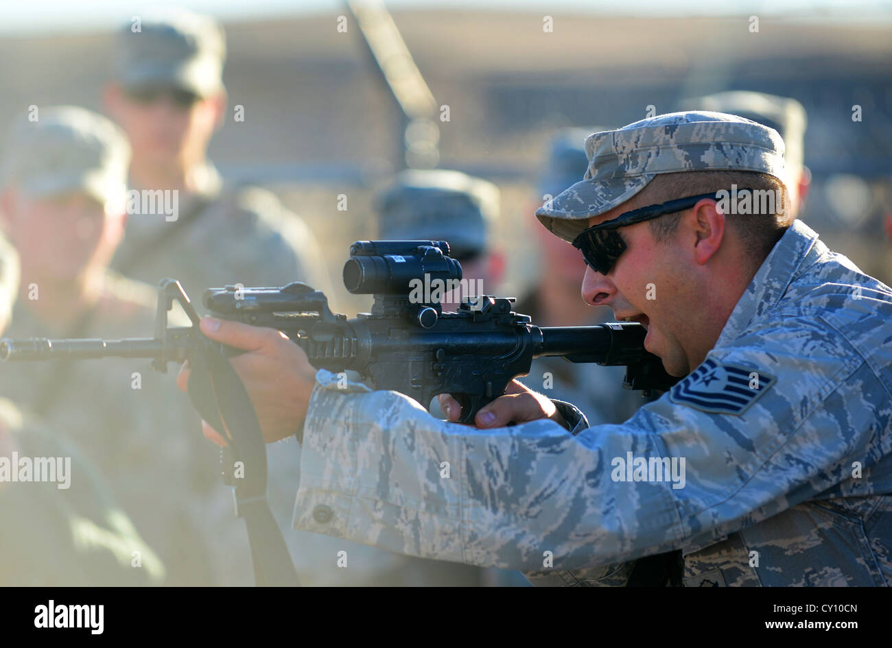 U.S. Air Force Tech. Sgt. William Hinchcliff, 620th Ground Combat Training Squadron nuclear training instructor, - Stock Image