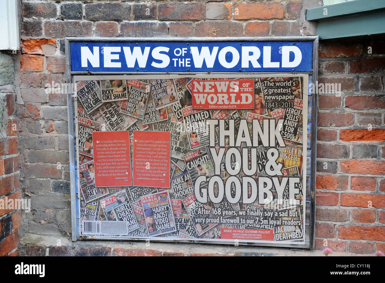 News of the World newspaper placard board final edition - Stock Image