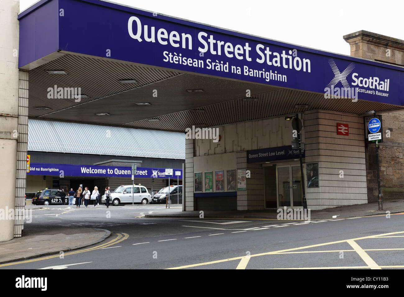 Vehicle and pedestrian entrance to Queen Street Station on North Hanover Street in Glasgow city centre Scotland - Stock Image