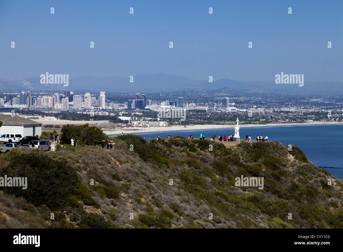 Cabrillo National Monument,  Point Loma peninsula with San Diego harbor and the city skyline in the background - Stock Image