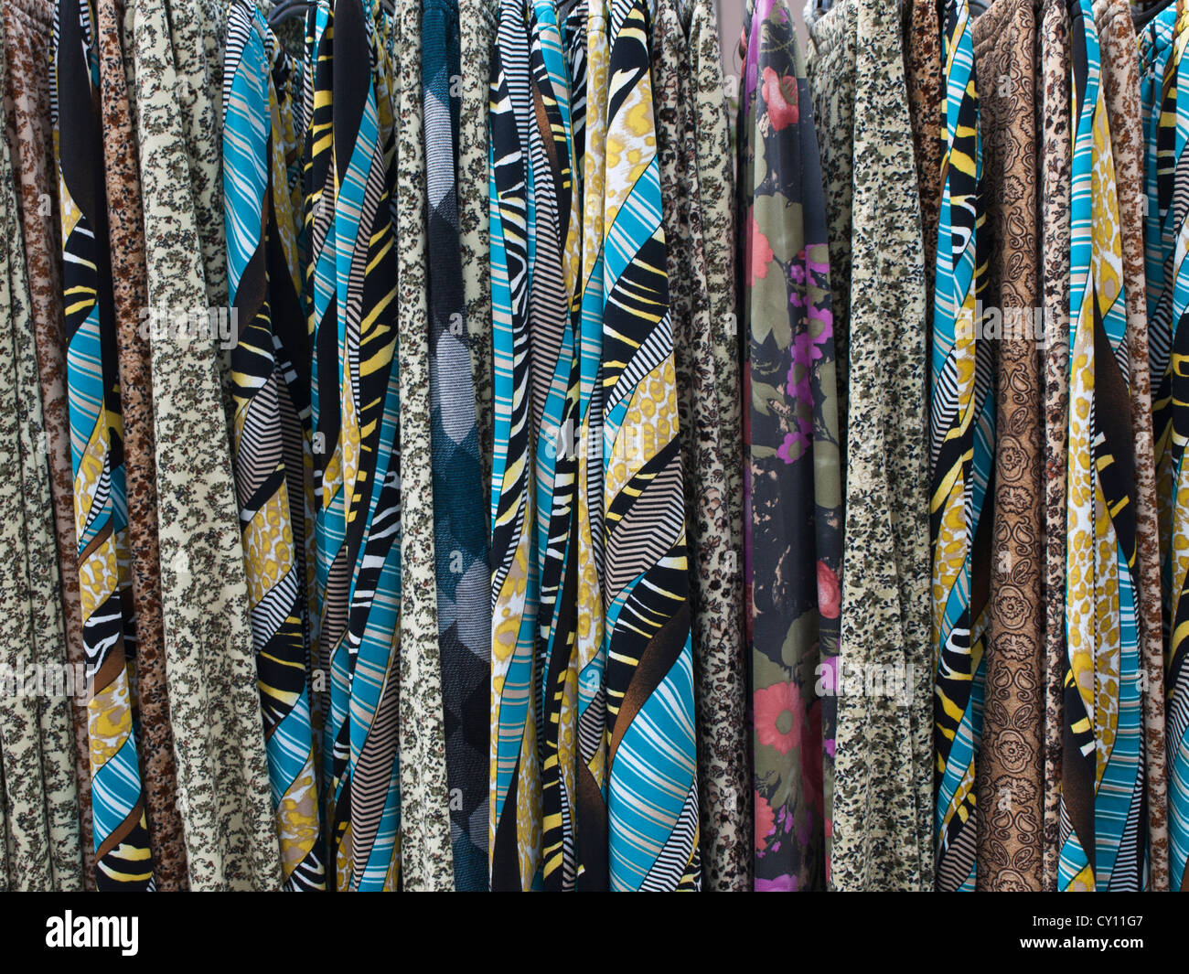Closeup of skirts in colourful patterns on sale in the marked in Bursa Turkey - Stock Image