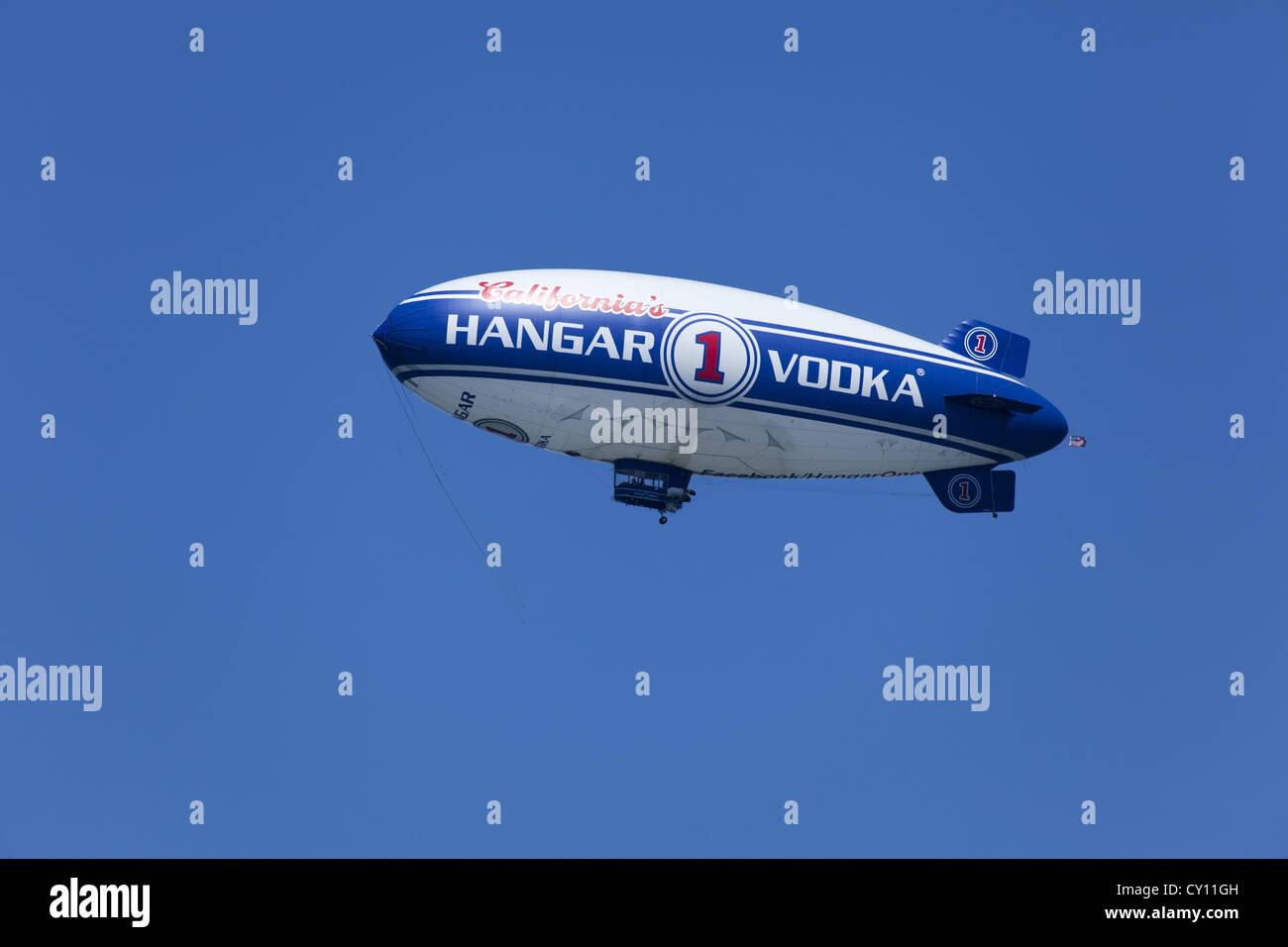 Hangar 1 Vodka blimp. A Spector 19, Model A-60+ airship - Stock Image
