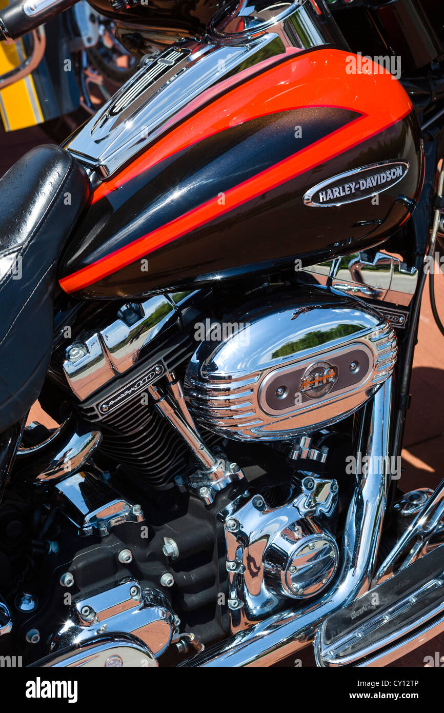 Close up of a Harley Davidson Screamin' Eagle Electra Glide motorcycle engine, USA - Stock Image