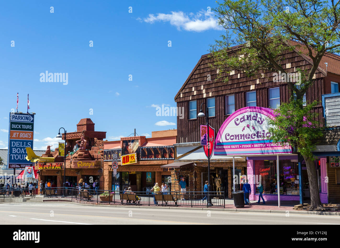 Shops And Attractions On Broadway Main Street In The Popular Resort Stock Photo Alamy