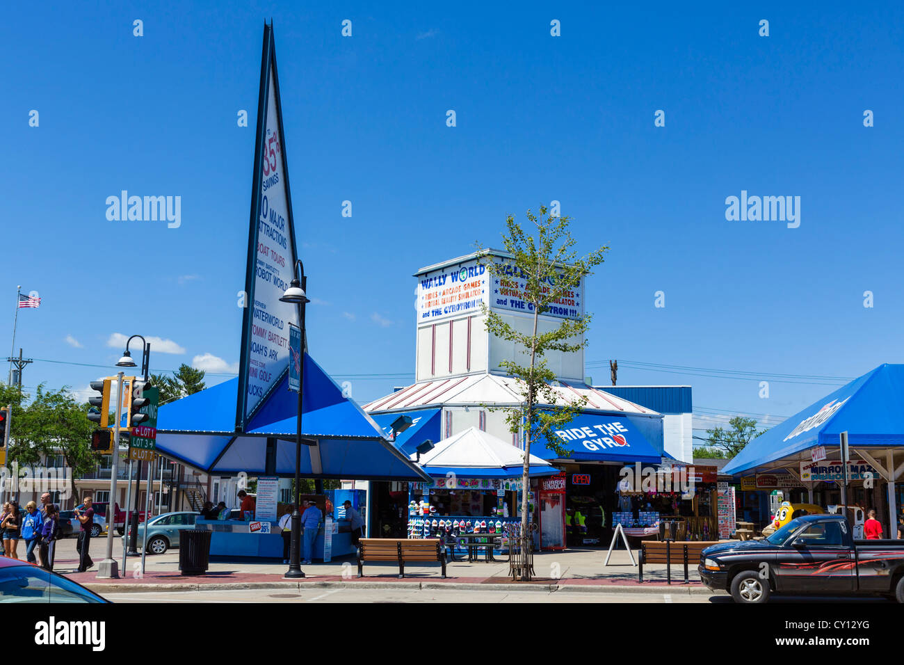Attractions On Broadway Main Street In The Popular Resort Of Stock Photo Alamy