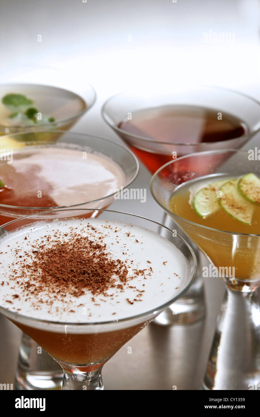 Collection of cocktails together - Stock Image