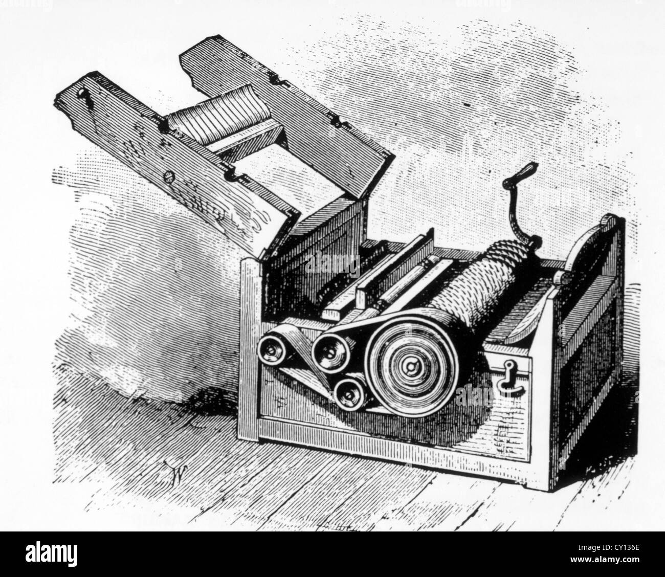 cotton gin invented by eli whitney 1793 illustration stock photo