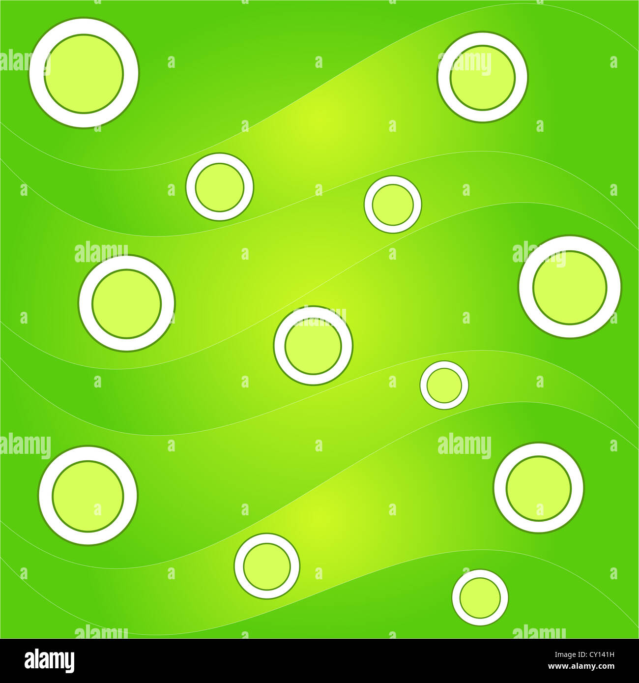 Green circles and waves pattern Stock Photo