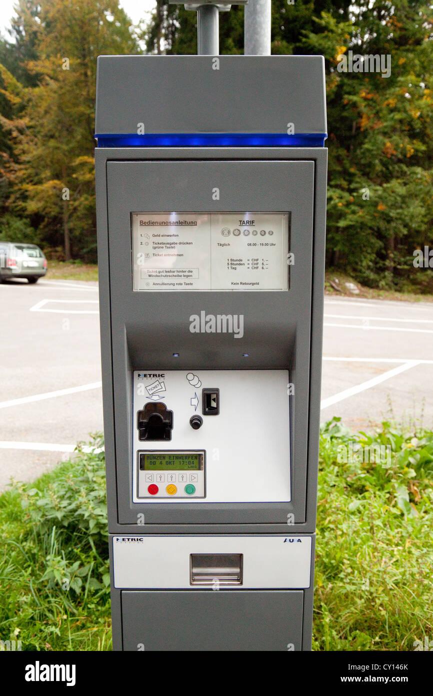 Swiss carpark meter, Switzerland Europe - Stock Image