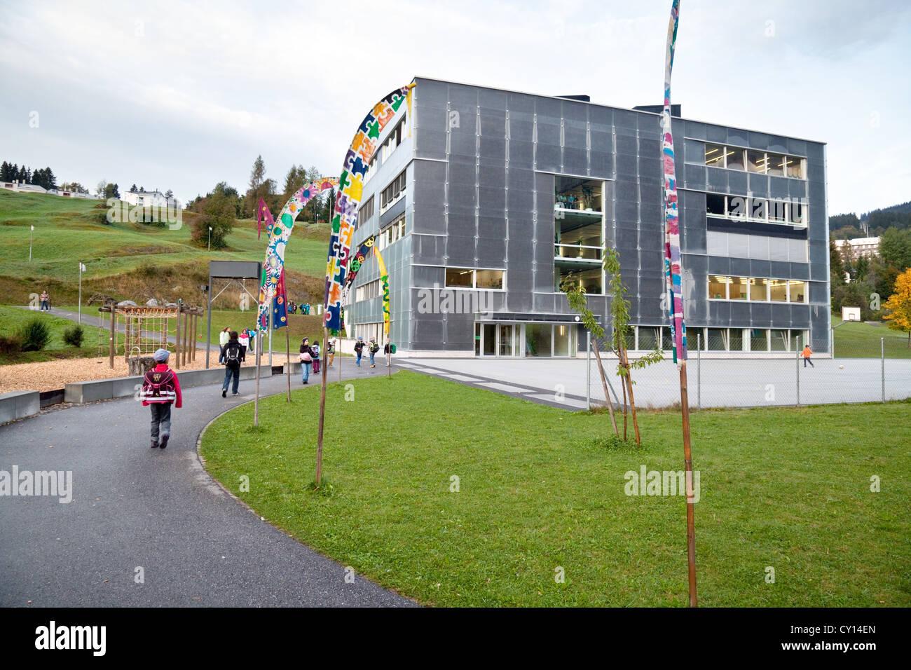 Swiss primary school children going to school, Flims, Switzerland, Europe - Stock Image
