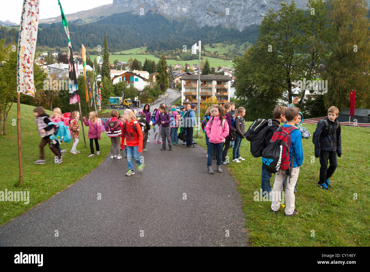 Swiss schoolchildren in the alpine town of Flims, Switzerland Europe Stock Photo