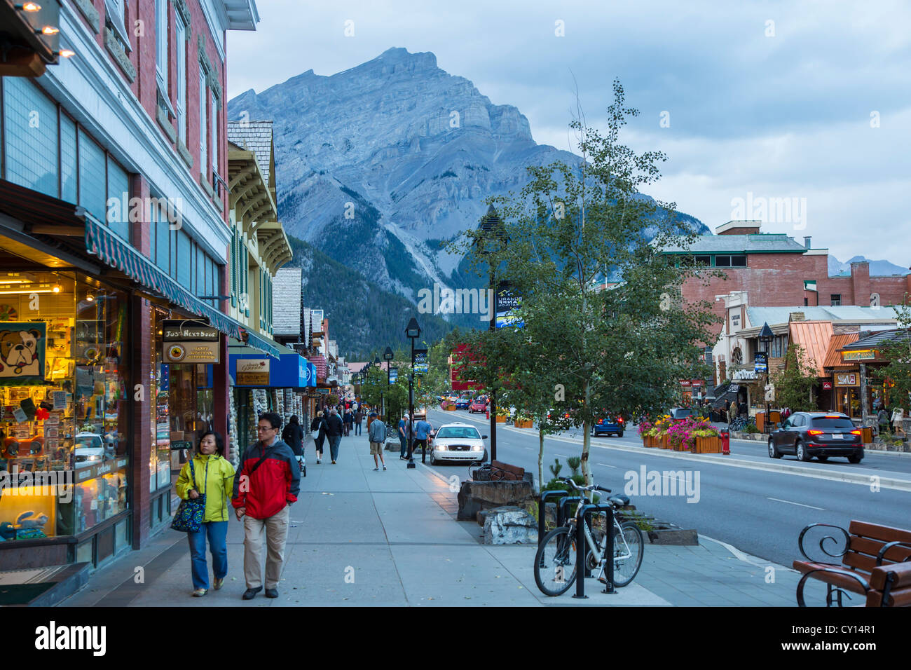 banff avenue in resort town of banff in the canadian rocky mountains
