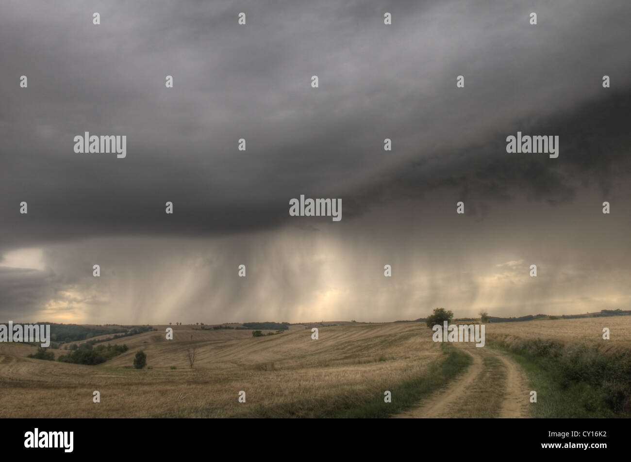 changing stormy weather on french countryon early evening - Stock Image