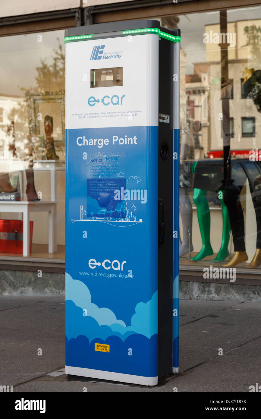 E-car electric car charge point in special parking bays in Irish city centre of Derry County Londonderry Northern Stock Photo