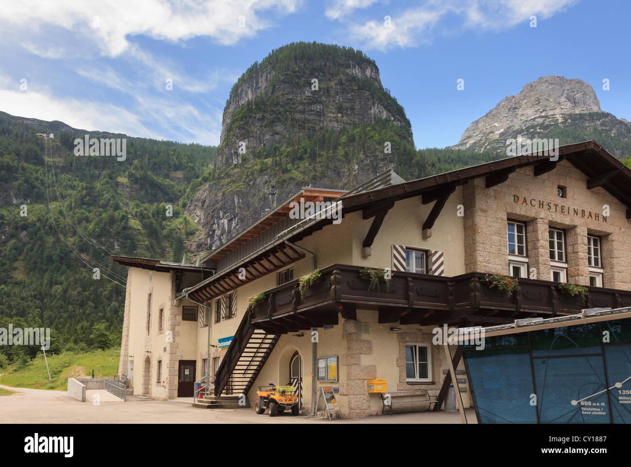 Dachstein World Heritage Cableway base station or Dachsteinbahn near Obertraun, Salzkammergut, Austria, Europe - Stock Image