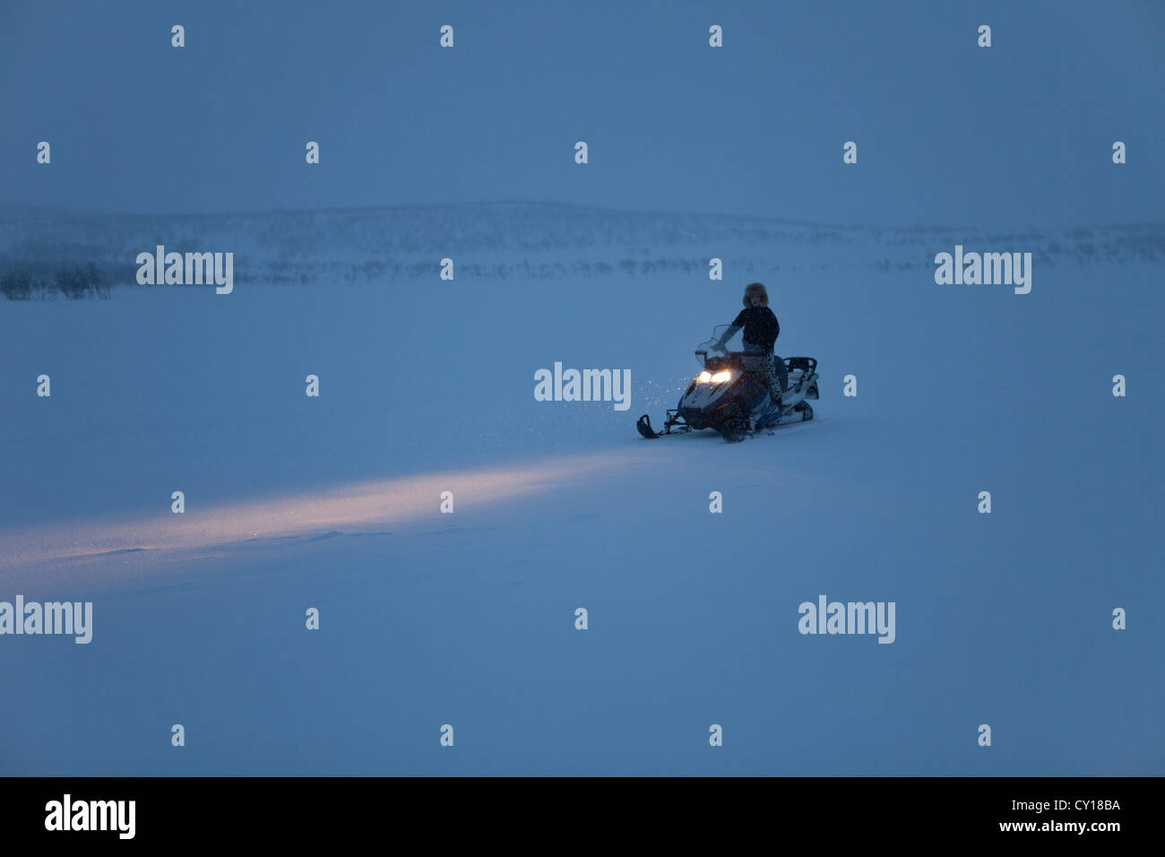 snowmobile in Northern Finland - Stock Image