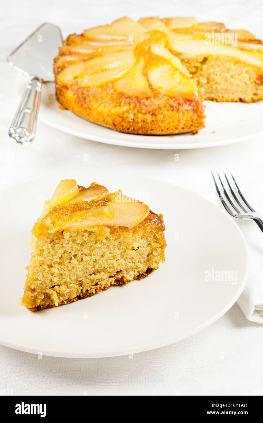 Pear upside down cake - Stock Image
