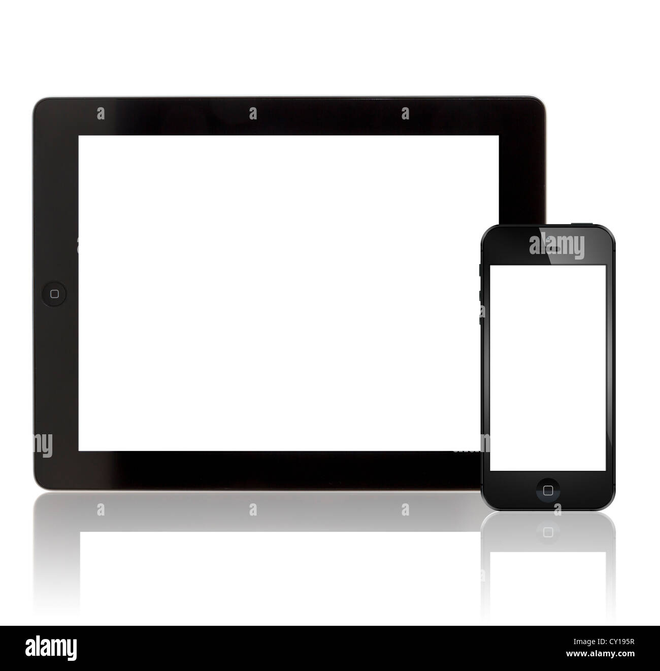 ipad and iPhone 5 with blank screen - Stock Image