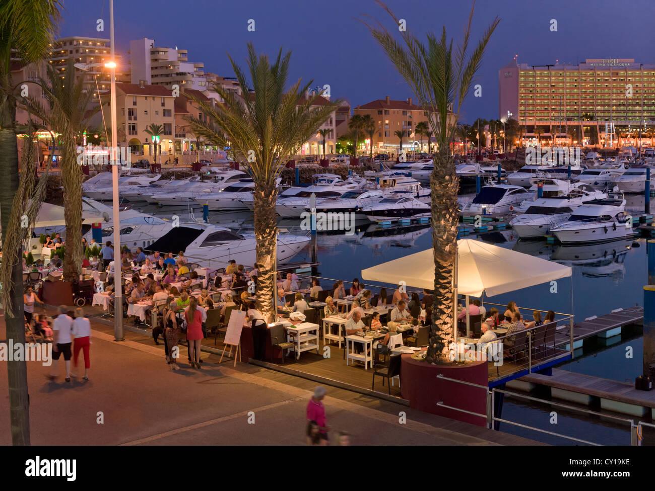Portugal, the Algarve, Vilamoura marina restaurant on the ...