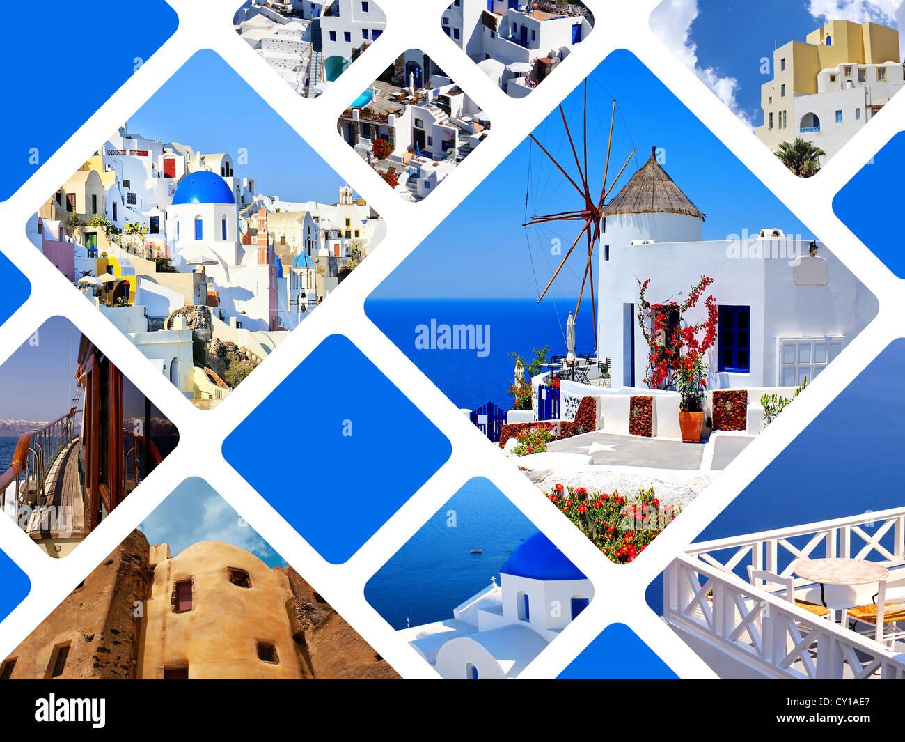 Collage of summer photos in Santorini island, Greece - Stock Image