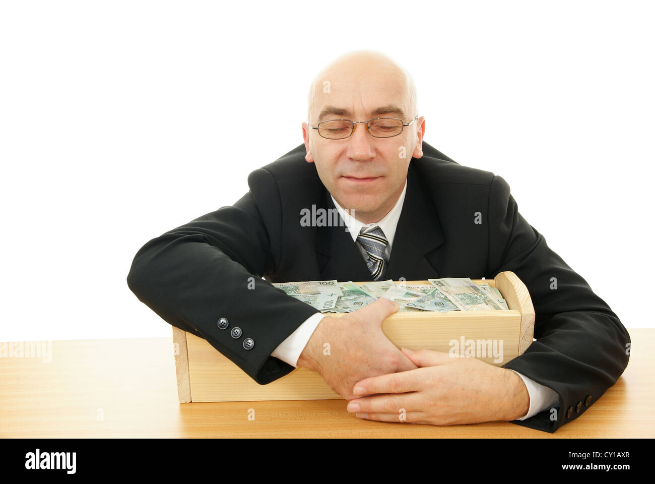 man keep trough with money on white background - Stock Image