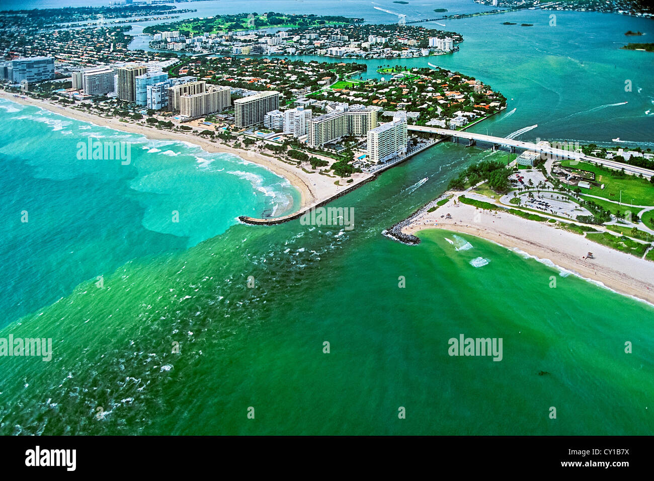 Aerial View of Miami Beach Bal Harbour, Biscayne Bay, Florida, USA - Stock Image