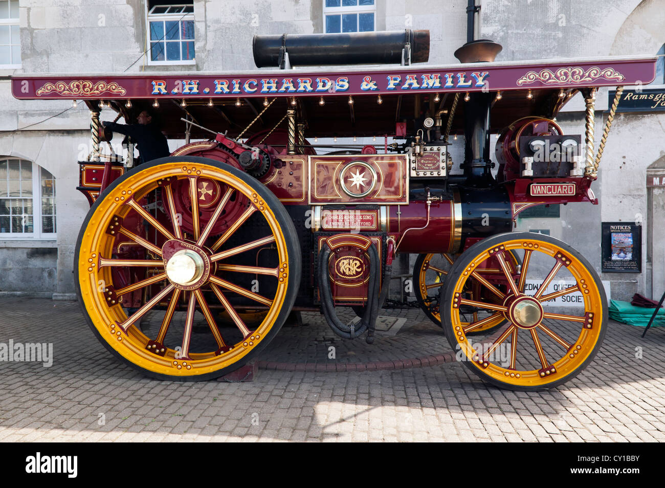 """Burrell Showmans Road Locomotive, 2342 """"The Vanguard"""" on display at the  Ramsgate Harbour Steam event."""