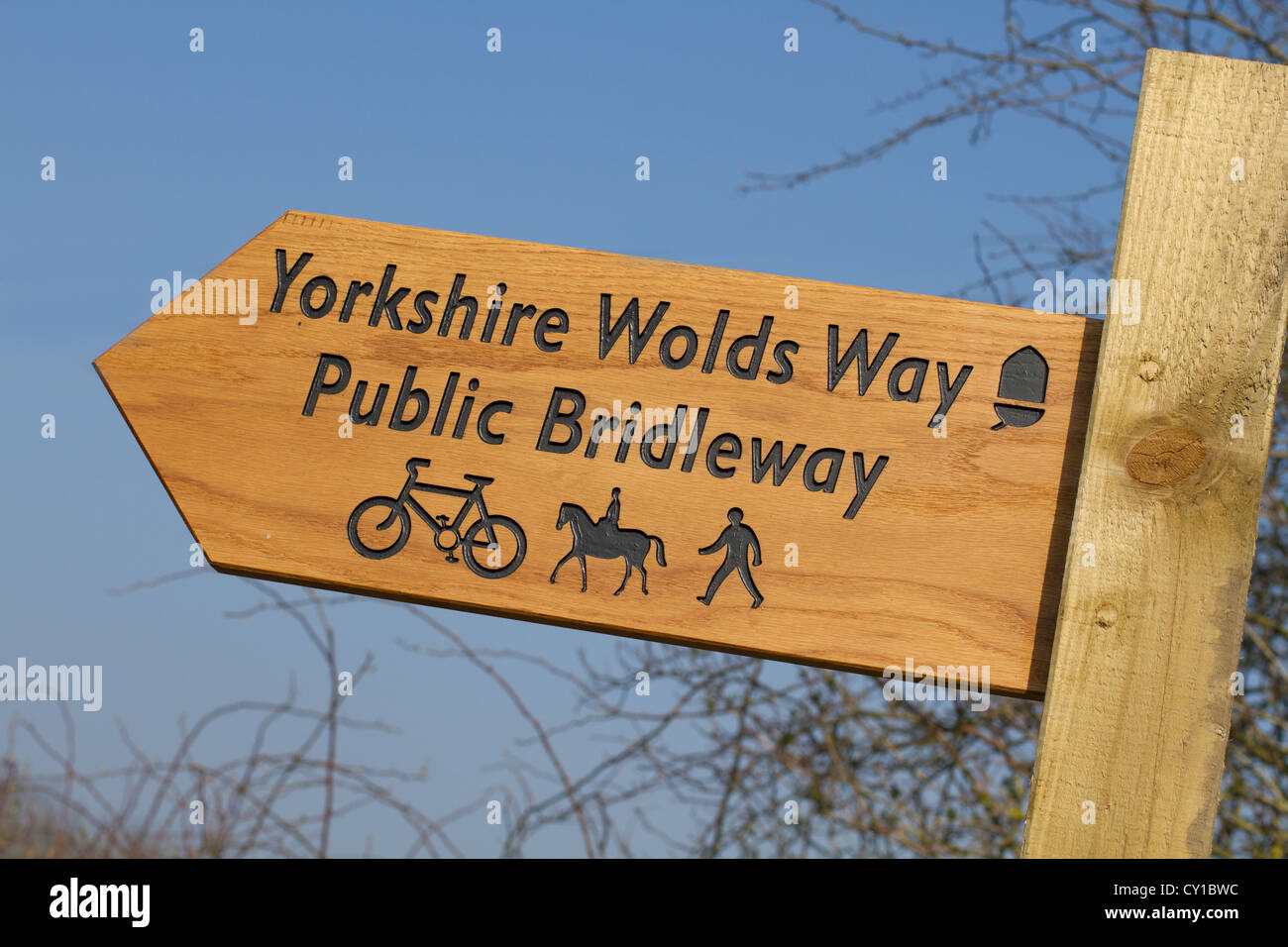 Yorkshire Wolds Way Public Bridleway sign - Stock Image