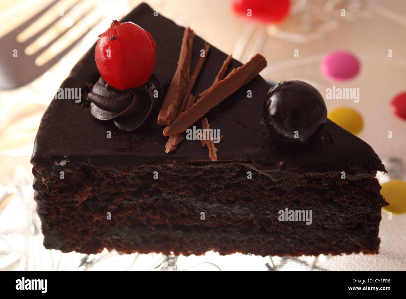Black Forest Cake Consists Of Several Layers Chocolate With Whipped Cream Between Each Layer And Cherry On Top