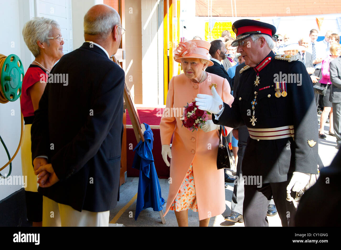 Her Majesty Queen Elizabeth the second Jubilee visit to Cowes Isle of Wight England to open new RNLI  inshore lifeboat - Stock Image