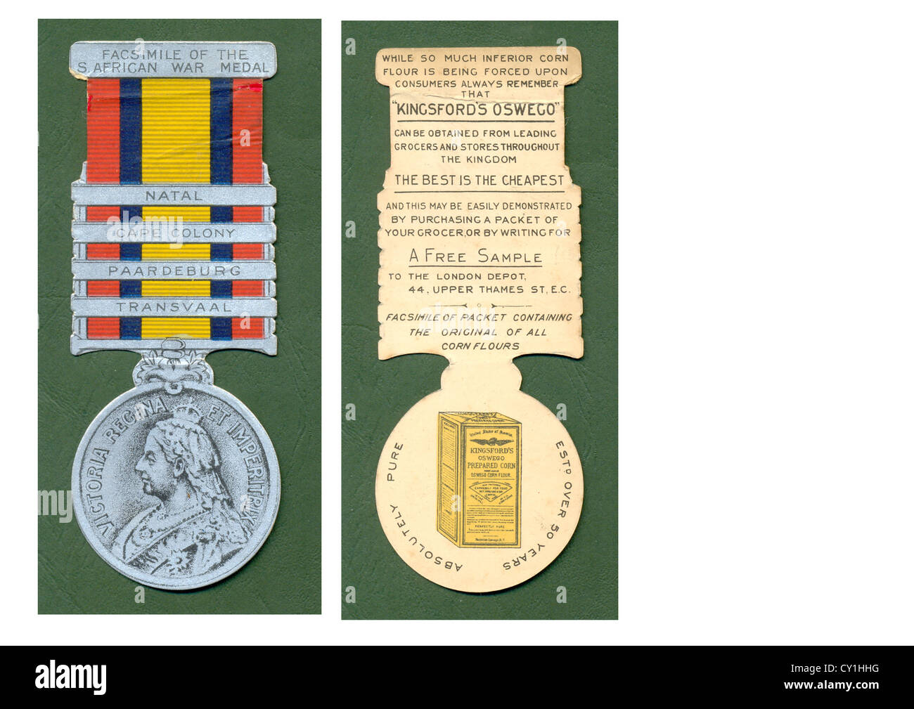 Facsimile of South African War Medal advertising Kingsford's Oswego cornflour on verso - Stock Image