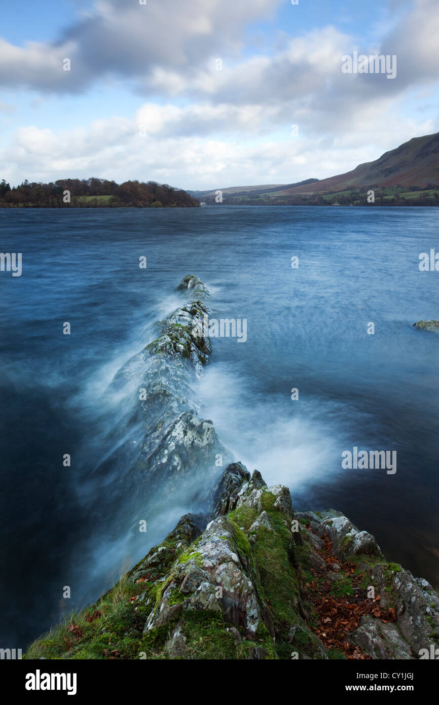 Moving waters on a lake at Kailpot Crag, Ullswater, Lake District, Cumbria, England - Stock Image